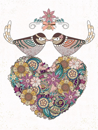 flower heart: romantic birds couple with heart shaped flower - adult coloring page