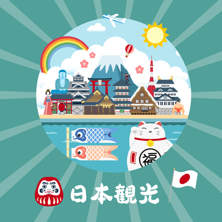 adorable Japan travel poster - Japan Travel in Japanese