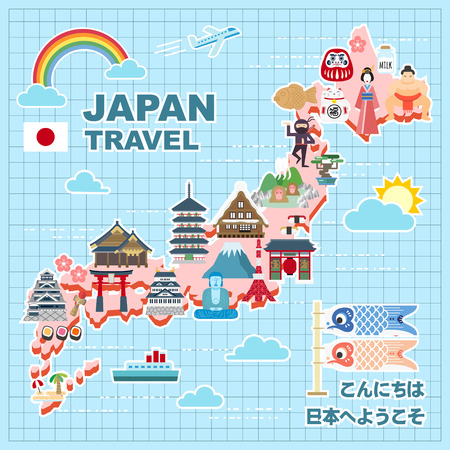 lovely Japan travel map - Hello and Welcome to Japan in Japanese Illustration