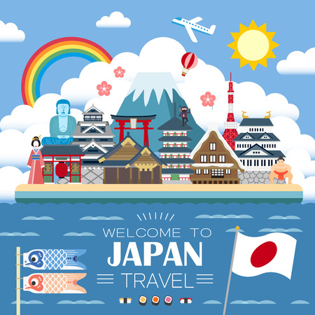 fuji mountain: attractive Japan travel poster with famous attractions