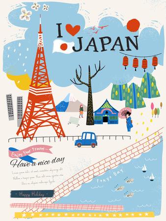 mooie Japan indruk poster met Tokyo Tower Stock Illustratie