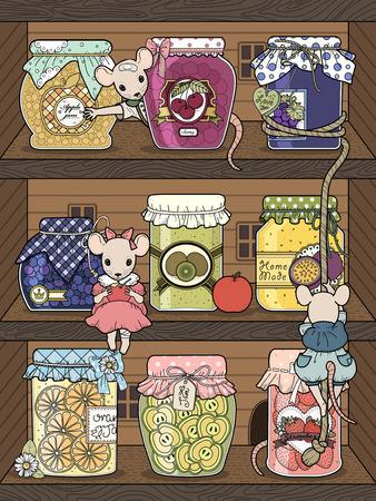 ratones: ratones adorable con diversos frascos de mermelada - Colorear adultos Vectores