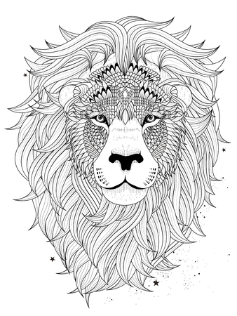 fluffy: attractive fluffy lion head - adult coloring page