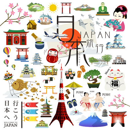 travel japan: lovely Japan impression collection set - Japan and lets go to Japan in Japanese