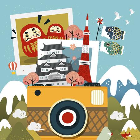 すばらしいメモリ - 日本旅行の思い出の写真  イラスト・ベクター素材