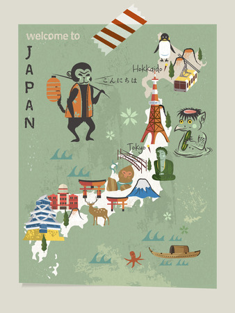 specialty: Japan travel map with famous attractions and animals Illustration