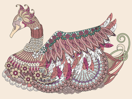 gorgeous: elegant swan coloring page with gorgeous decorative feathers