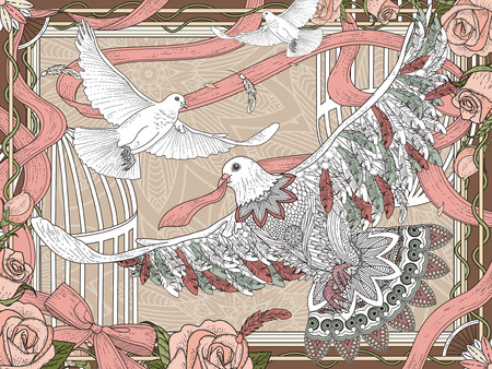 relieve: romantic white pigeons coloring page with roses and ribbon Illustration