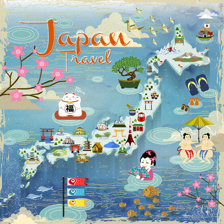 Japan travel map with lovely famous attractions