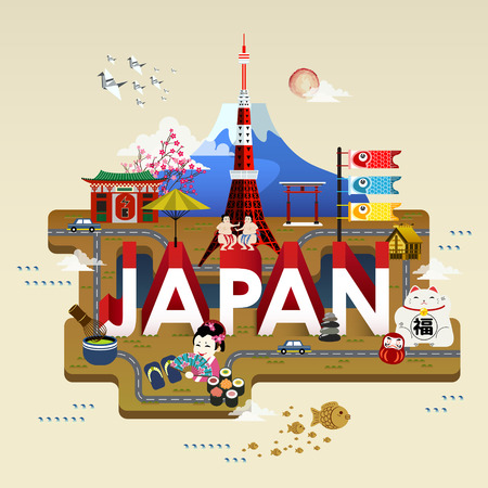 attractions: lovely Japan travel poster with famous attractions