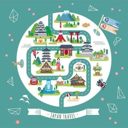 preciosa mapa caminar Japón, con lugares de interés turístico