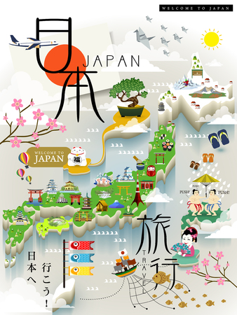travel map: Japan travel map with famous attractions - Japan travel and lets go to Japan in Japanese