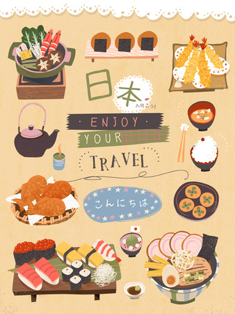 attractive Japan delicacy poster - Let's go to Japan and Hello in Japanese
