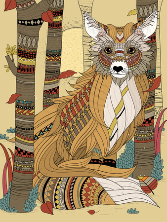 relieve: fluffy fox in the forest - adult coloring page