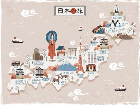 onsen: Japan travel map design - Japan travel in Japanese on the top Illustration
