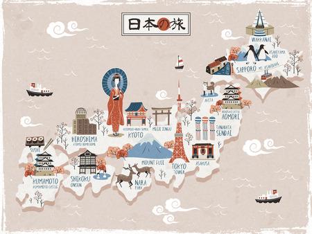 Japan travel map design - Japan travel in Japanese on the top Illustration