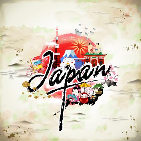 El cartel del viaje de Japón con símbolos de cultivo preciosas