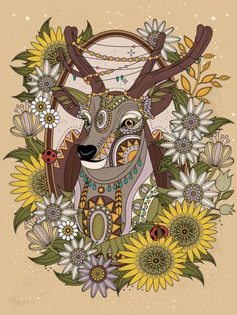 animales del bosque: ciervos preciosa, con la corona de flores - Colorear adultos