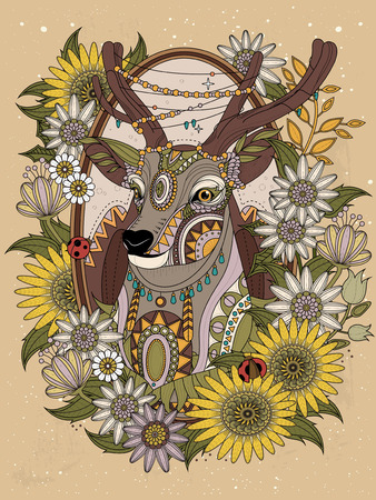 gorgeous deer with floral wreath - adult coloring page Illustration
