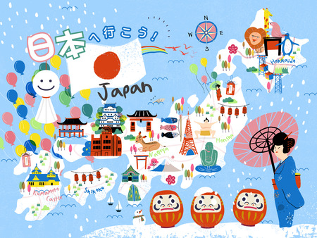 colorful Japan travel map - Let's go to Japan in Japanese on upper left Vectores