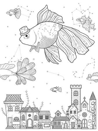 starry night: fancy goldfish float upon starry night - adult coloring page