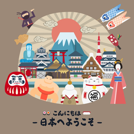 specialty: lovely Japan travel poster - Hello and Welcome to Japan in Japanese