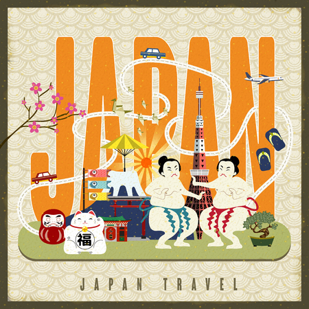 lucky cat: Japan travel poster with famous culture symbols