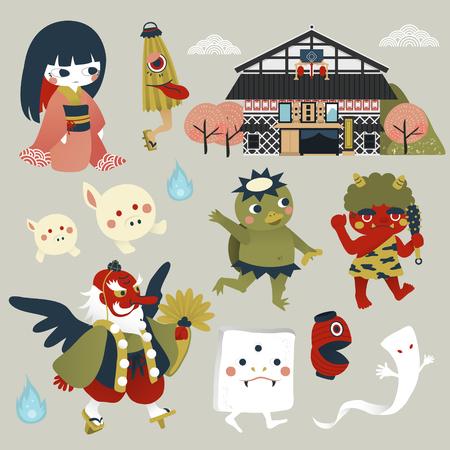 stile: bel mostro collezione Giappone impostato in stile piatta Vettoriali