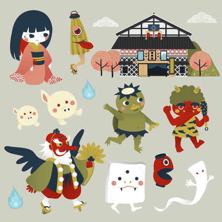 japanese: lovely Japan monster collection set in flat style Illustration