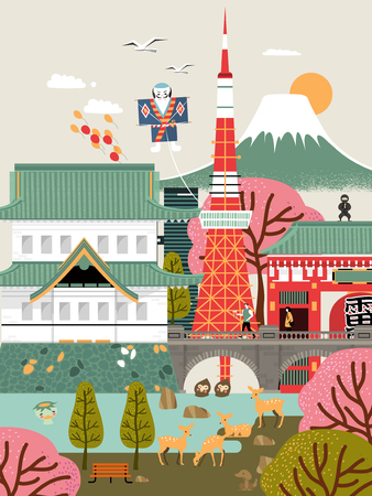 travel japan: lovely Japan travel poster with famous attractions