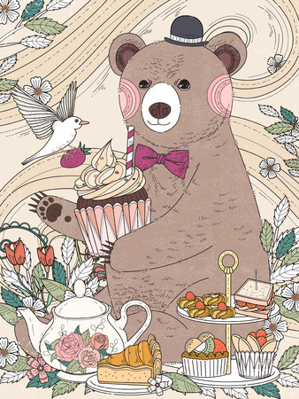 afternoon: lovely bear enjoys afternoon tea - adult coloring page