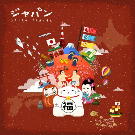reisposter Japan met beroemde bezienswaardigheden - Japan in het Japans