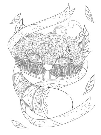 big eyes: mysterious smile cat with big eyes - adult coloring page Illustration