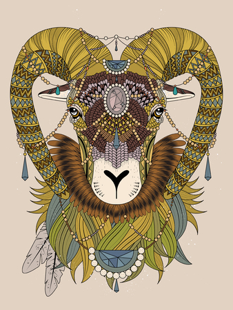 sumptuous: sumptuous goat head with bighorn - adult coloring page