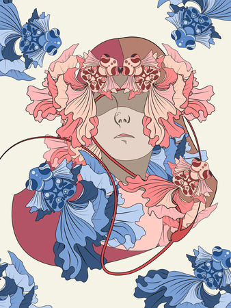 elegant goldfish and human - adult coloring page Illustration