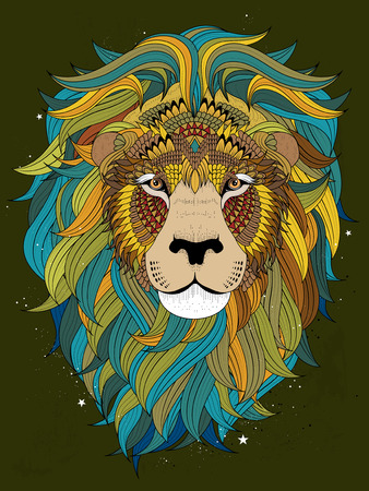relieve: attractive fluffy lion head - adult coloring page