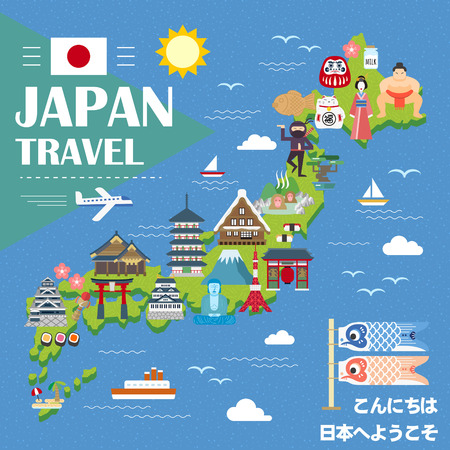 speciality: lovely Japan travel map - Hello and Welcome to Japan in Japanese Illustration
