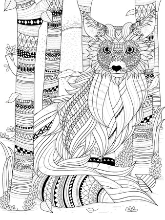fluffy fox in the forest - adult coloring page