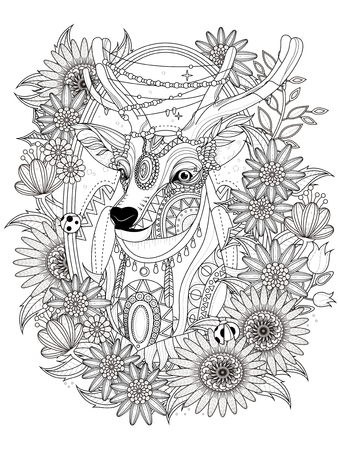 gorgeous deer with floral wreath - adult coloring page Vectores