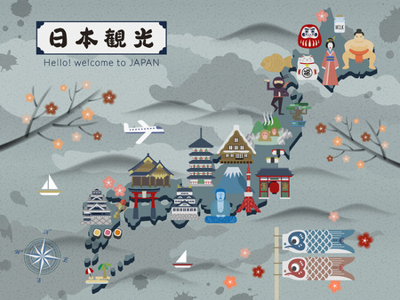 speciality: Japan travel map with famous attractions - Japan Travel in Japanese Illustration