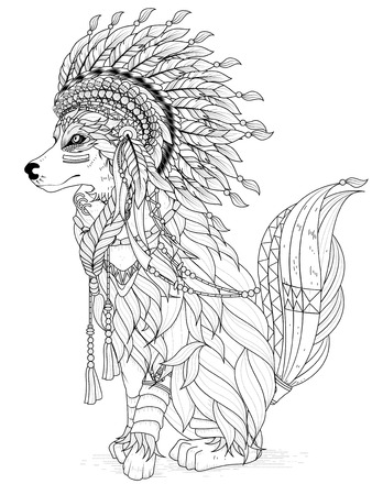 lovely Indian style wolf - adult coloring page