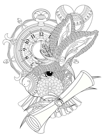 lovely rabbit with clock and letter - adult coloring page