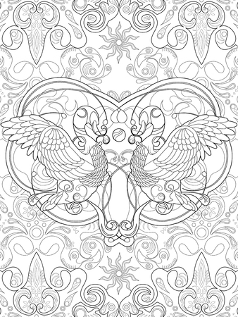 elegant swan with retro background - adult coloring page
