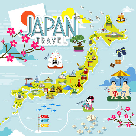 specialty: Japan travel map with lovely famous attractions