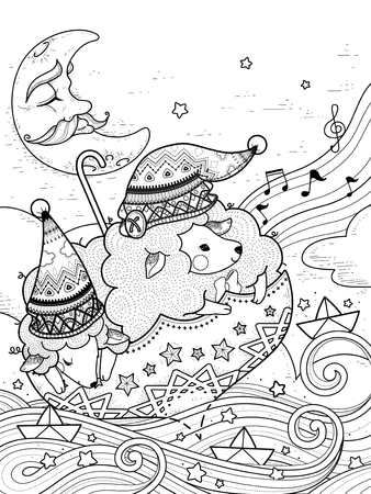 magic sheep float upon starry night - adult coloring page Vectores