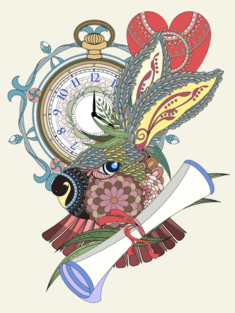 relieve: lovely rabbit with clock and letter - adult coloring page