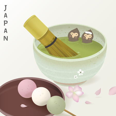 tea ceremony: lovely tea ceremony set - monkeys enjoy hot green tea bath Illustration