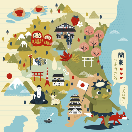 lovely Japan travel map with kappa - Welcome to east Japan and Hello in Japanese