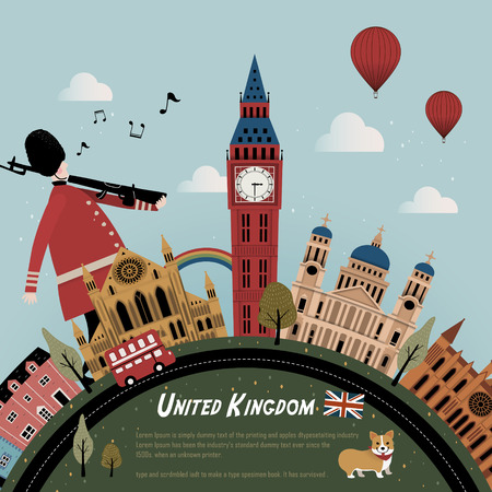 lovely United Kingdom travel poster design with street scenery
