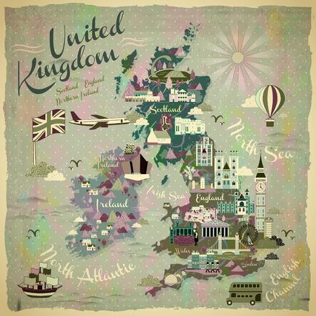 carte Voyage Royaume-Uni rétro avec des attractions célèbres